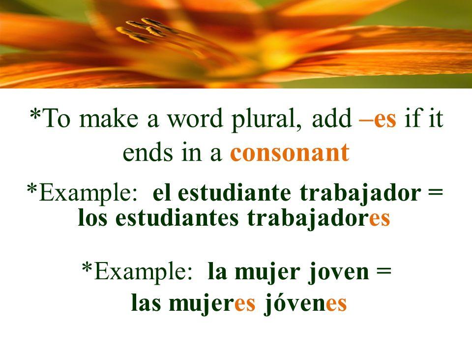 *To make a word plural, add –es if it ends in a consonant *Example: el estudiante trabajador = los estudiantes trabajadores *Example: la mujer joven = las mujeres jóvenes