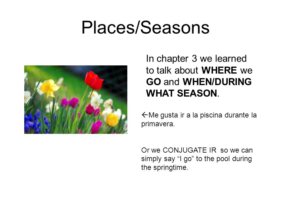 Places/Seasons In chapter 3 we learned to talk about WHERE we GO and WHEN/DURING WHAT SEASON.