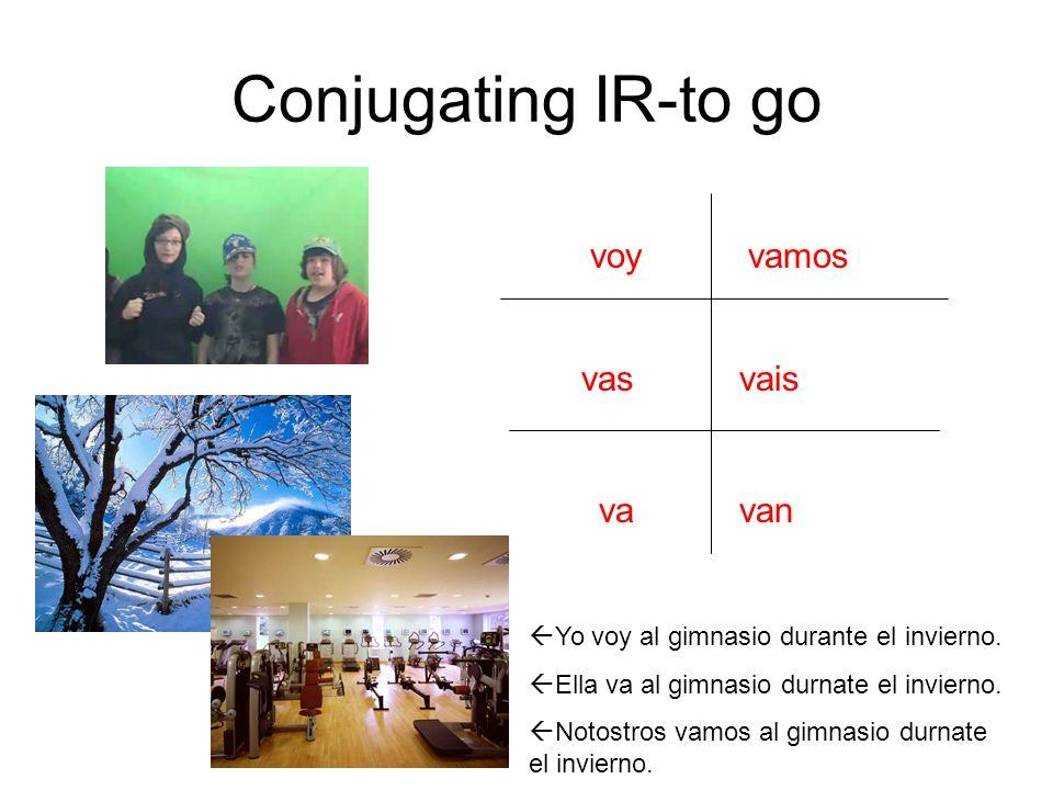 Conjugating IR-to go voy vas va vamos vais van  Yo voy al gimnasio durante el invierno.