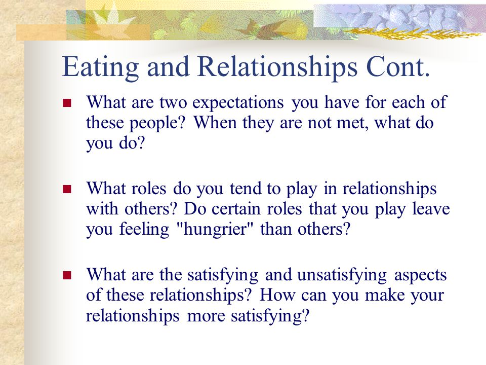 Eating and Relationships Cont. What are two expectations you have for each of these people.