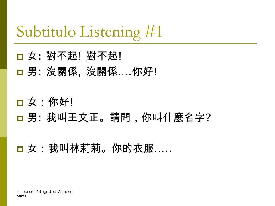 resource: Integrated Chinese part1 Subtitulo Listening #1  女 : 對不起 ! 對不起 !  男 : 沒關係, 沒關係 …. 你好 !  女:你好 !  男 : 我叫王文正。請問,你叫什麼名字 ?  女:我叫林莉莉。你的衣服 …..