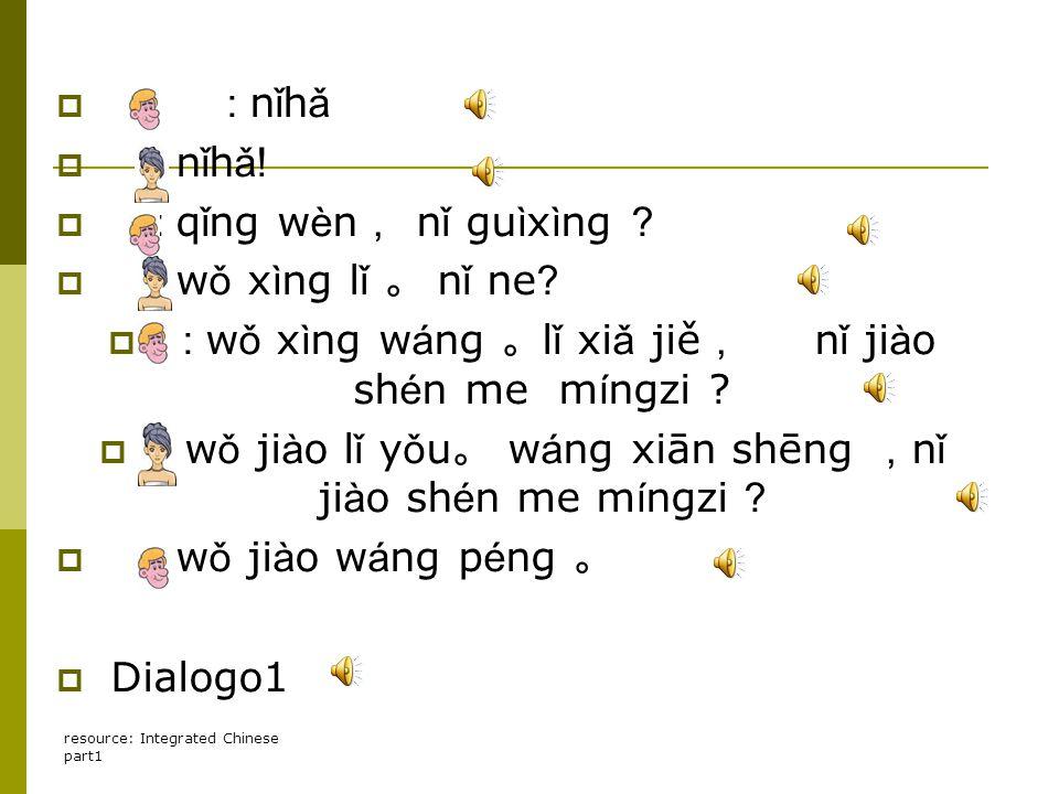 resource: Integrated Chinese part1  : n ǐ h ǎ  : n ǐ h ǎ!  : q ǐ ng w è n , n ǐ gu ì x ì ng ?  : w ǒ x ì ng l ǐ 。 n ǐ ne ?  : w ǒ x ì ng w á ng 。