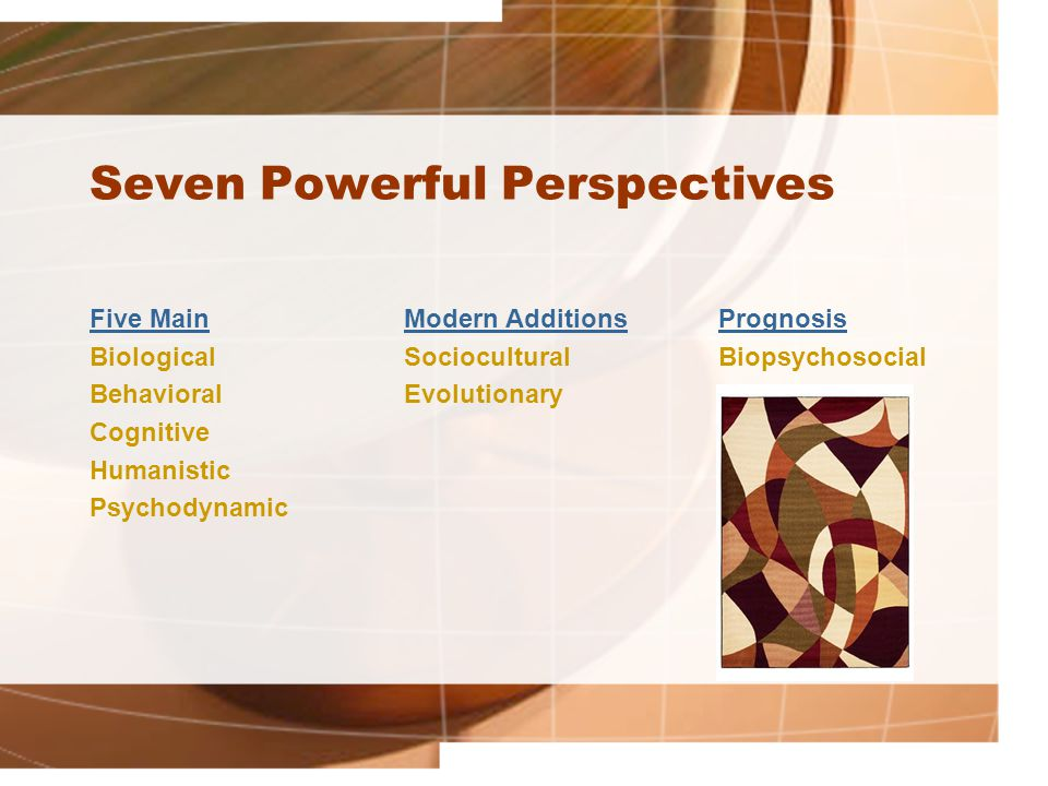 Seven Powerful Perspectives Five Main Modern AdditionsPrognosis Biological Sociocultural Biopsychosocial BehavioralEvolutionary Cognitive Humanistic Psychodynamic