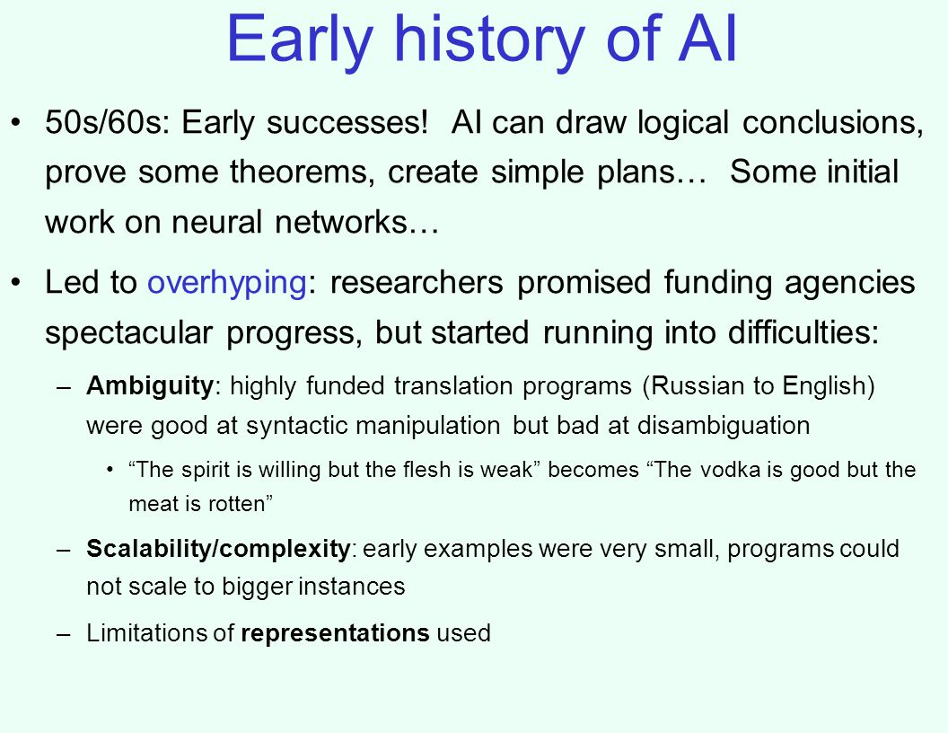 Early history of AI 50s/60s: Early successes.