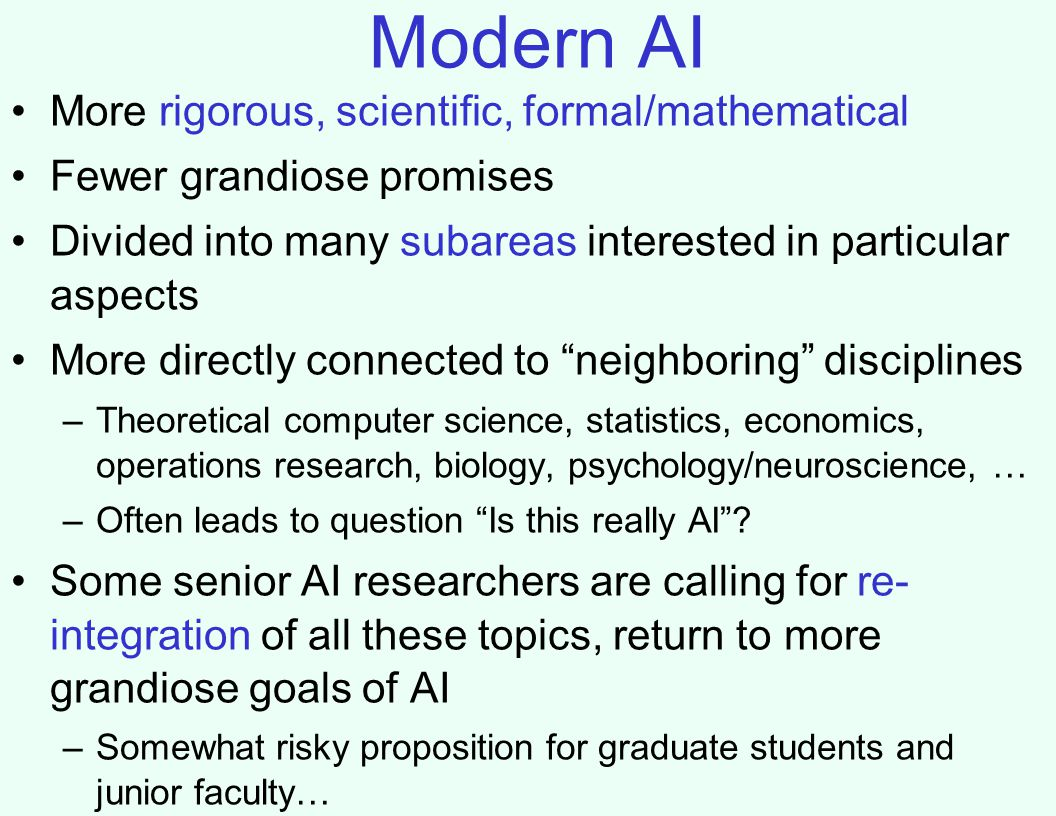 Modern AI More rigorous, scientific, formal/mathematical Fewer grandiose promises Divided into many subareas interested in particular aspects More directly connected to neighboring disciplines –Theoretical computer science, statistics, economics, operations research, biology, psychology/neuroscience, … –Often leads to question Is this really AI .