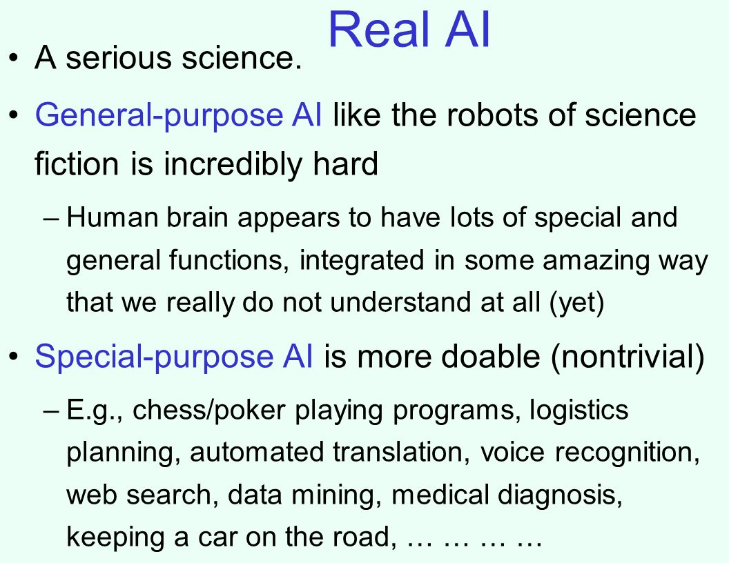 Real AI A serious science.