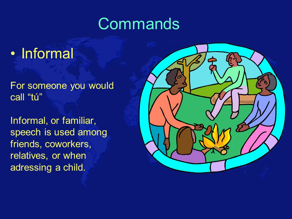 Commands – telling somebody to do something! Where else you could use the commands