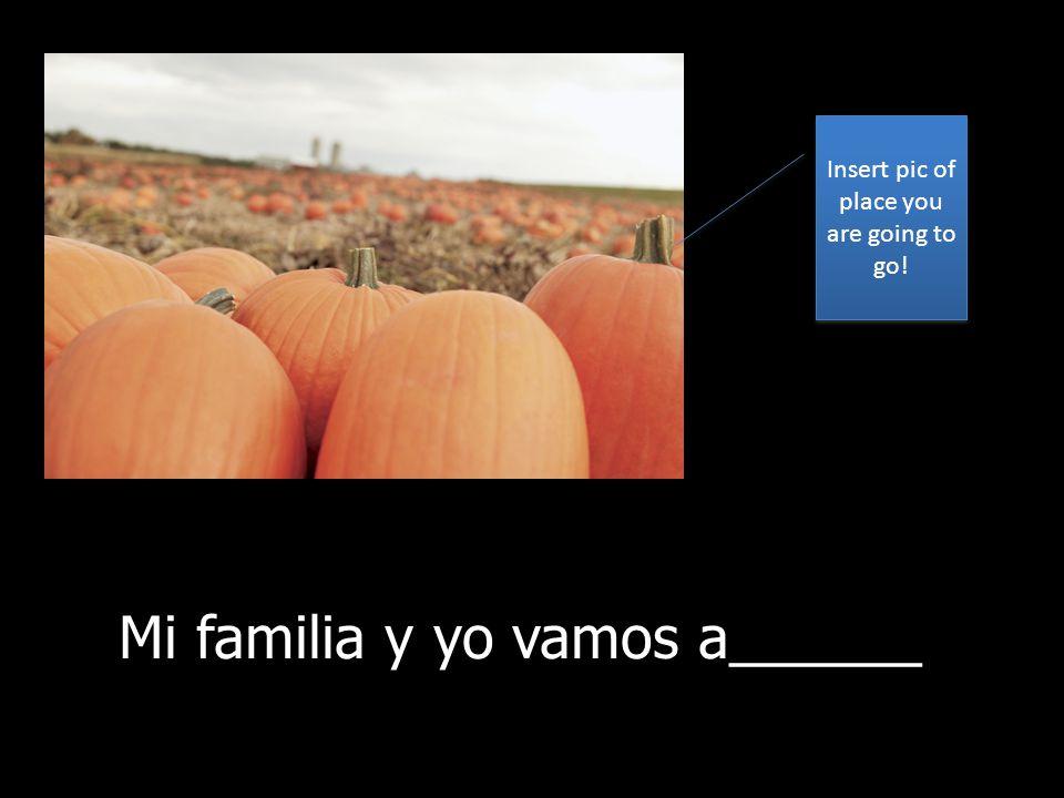 Mi familia y yo vamos a la granja de calabazas cada año para escoger calabazas. Mi familia y yo vamos a______ Insert pic of place you are going to go!