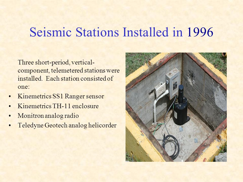 Seismic Stations Installed in 1996 Three short-period, vertical- component, telemetered stations were installed.