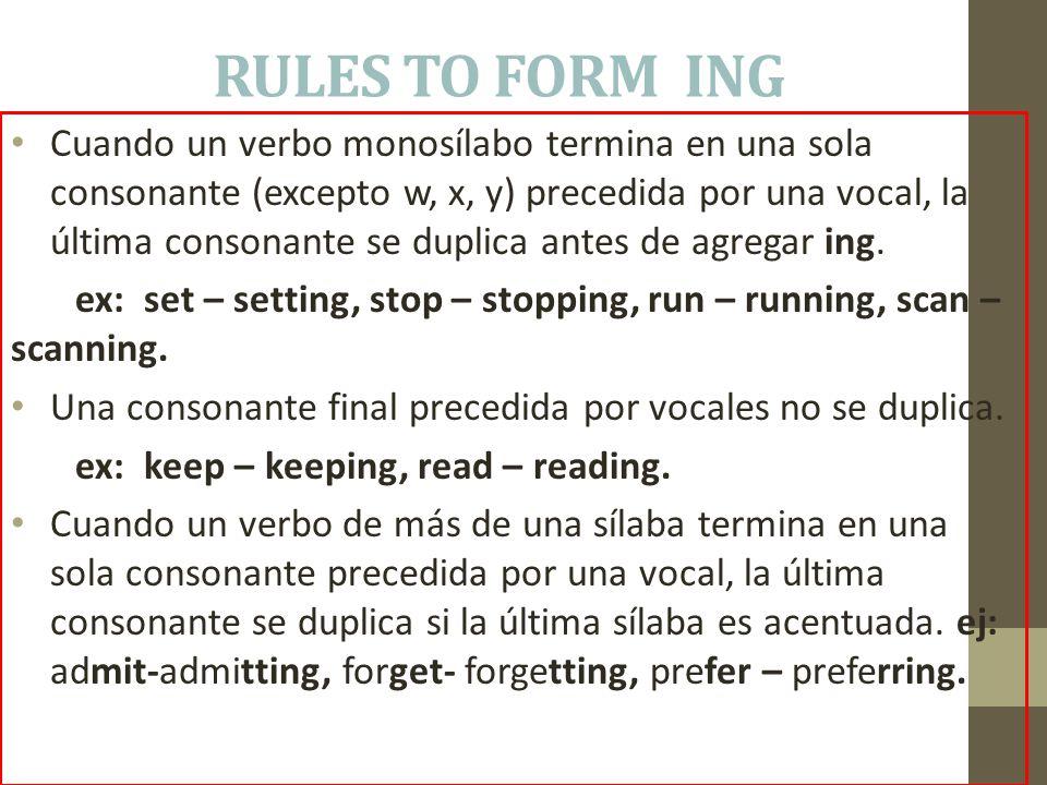 RULES TO FORM ING Cuando un verbo monosílabo termina en una sola consonante (excepto w, x, y) precedida por una vocal, la última consonante se duplica