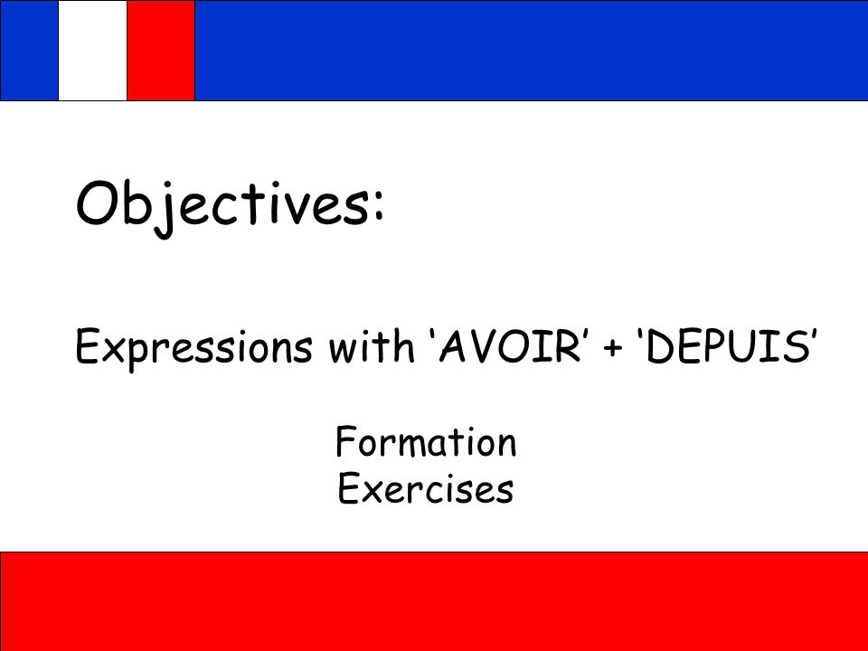 Objectives: Expressions with 'AVOIR' + 'DEPUIS' Formation Exercises