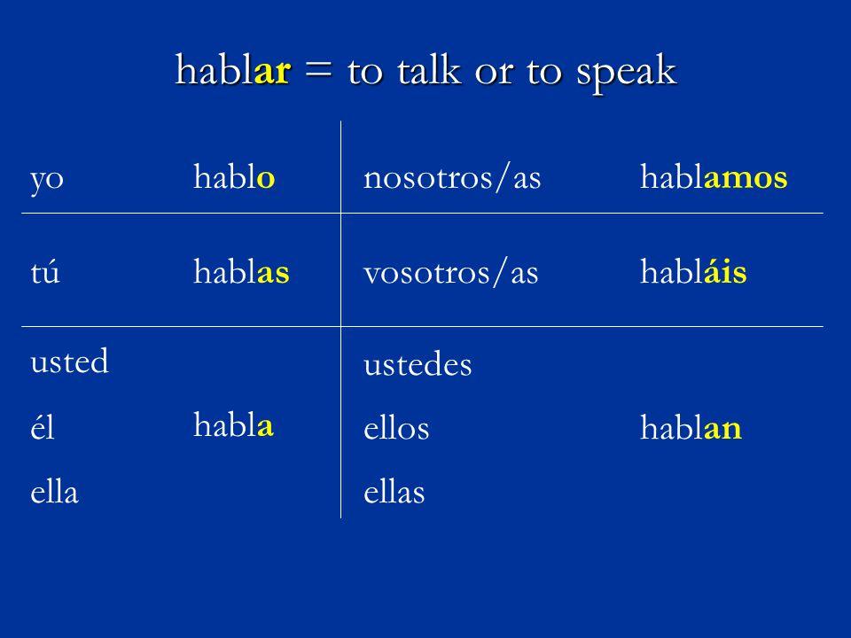 hablar = to talk or to speak yohablo hablas habla tú él nosotros/as vosotros/as ustedes usted ella hablamos habláis ellos ellas hablan