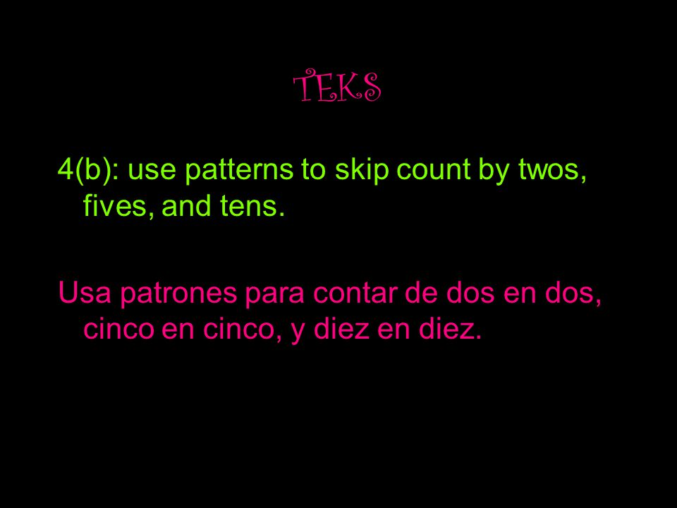 TEKS 4(b): use patterns to skip count by twos, fives, and tens.
