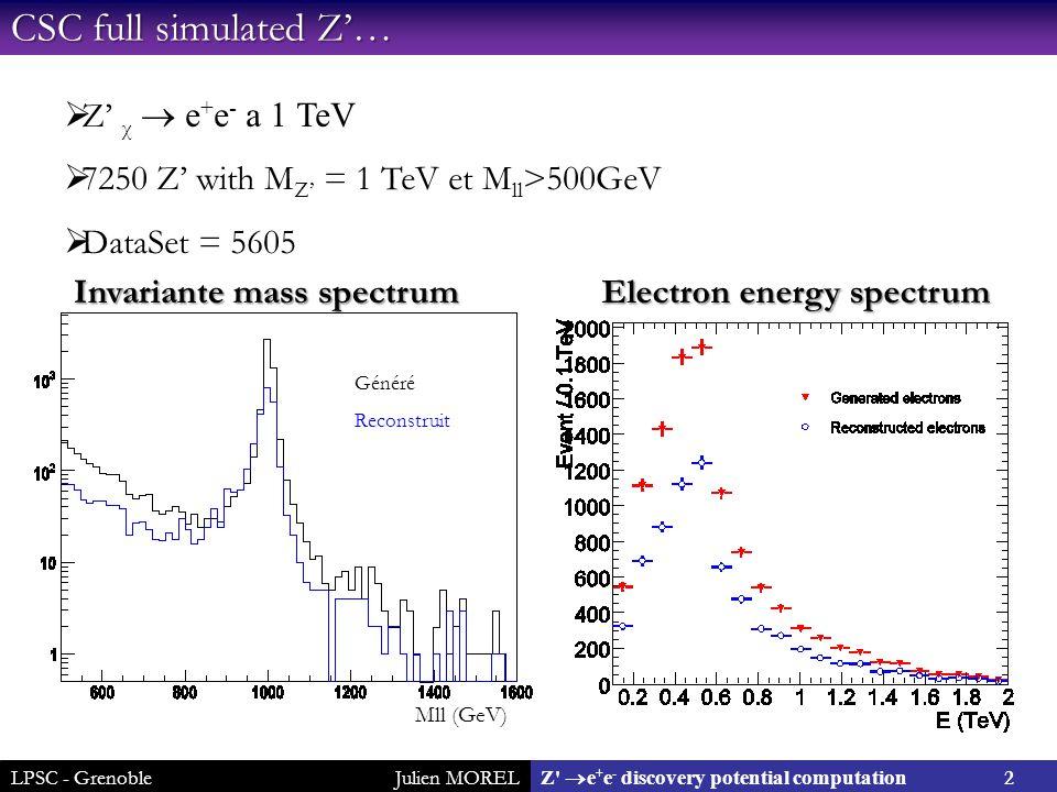 LPSC - GrenobleJulien MOREL 2 Z  e + e - discovery potential computation CSC full simulated Z'…  Z' χ  e + e - a 1 TeV  7250 Z' with M Z' = 1 TeV et M ll >500GeV  DataSet = 5605 Généré Reconstruit Mll (GeV) Invariante mass spectrum Electron energy spectrum