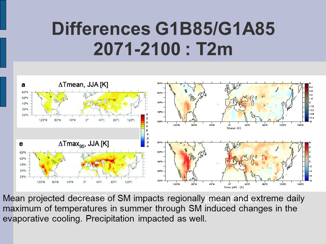 Differences G1B85/G1A85 2071-2100 : T2m GLACE IPSL-CM5A Mean projected decrease of SM impacts regionally mean and extreme daily maximum of temperatures in summer through SM induced changes in the evaporative cooling.