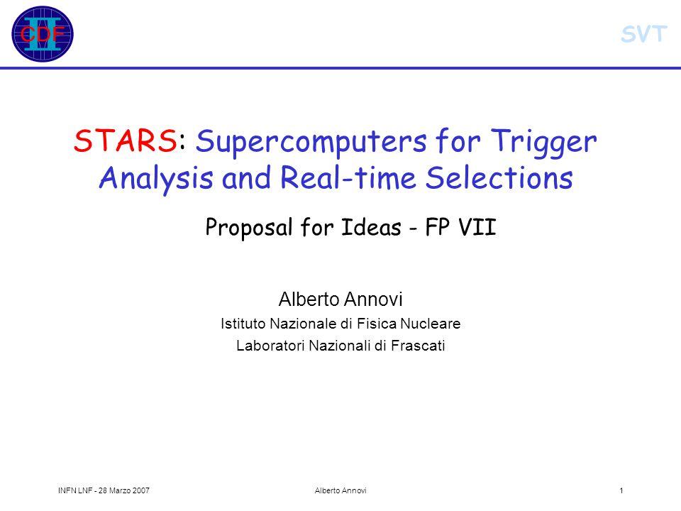 SVT INFN LNF - 28 Marzo 2007Alberto Annovi2 Outline STARS Trigger: we always need more power.