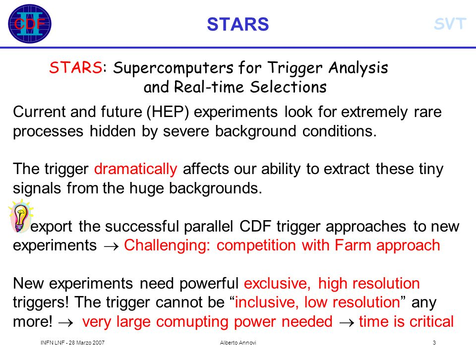 SVT INFN LNF - 28 Marzo 2007Alberto Annovi3 STARS STARS: Supercomputers for Trigger Analysis and Real-time Selections Current and future (HEP) experiments look for extremely rare processes hidden by severe background conditions.