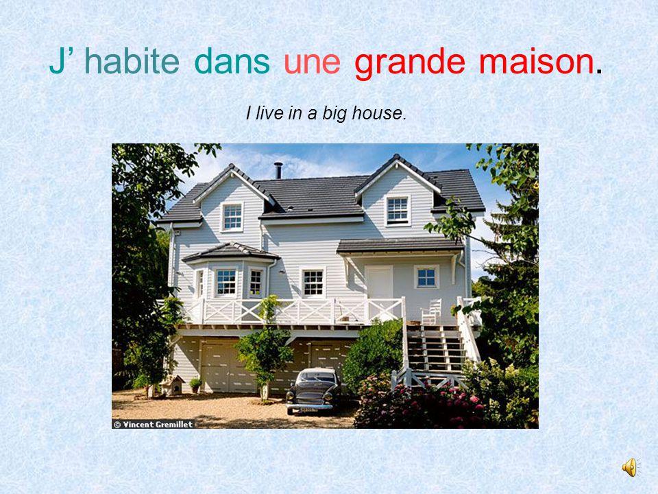 J' habite dans une petite maison. I live in a small house.