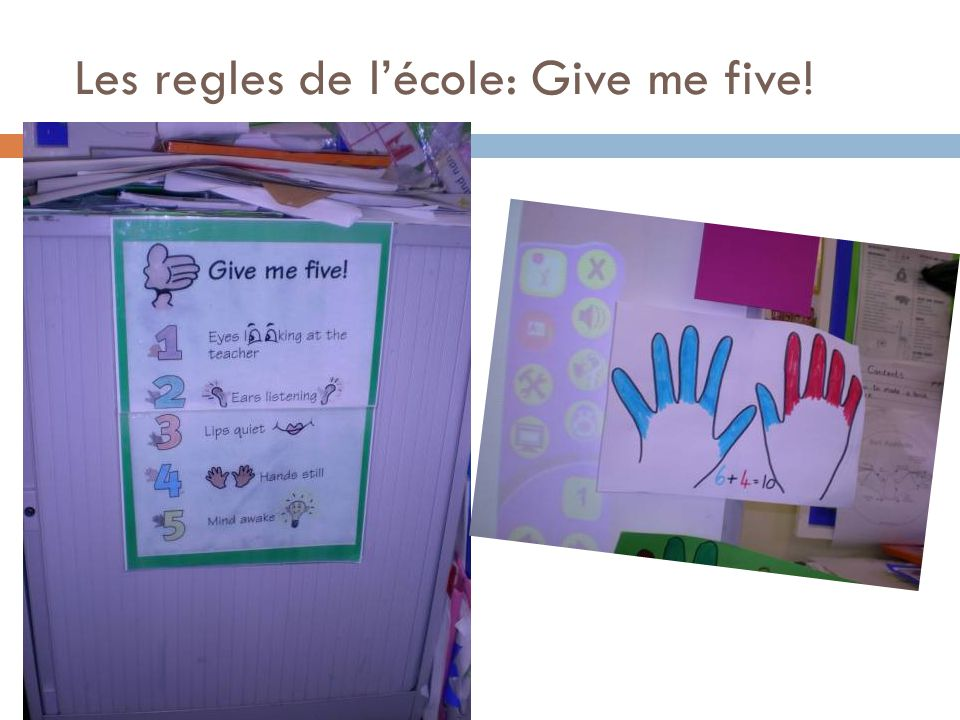 Les regles de l'école: Give me five!