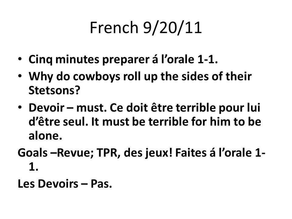 French 9/20/11 Cinq minutes preparer á l'orale 1-1.