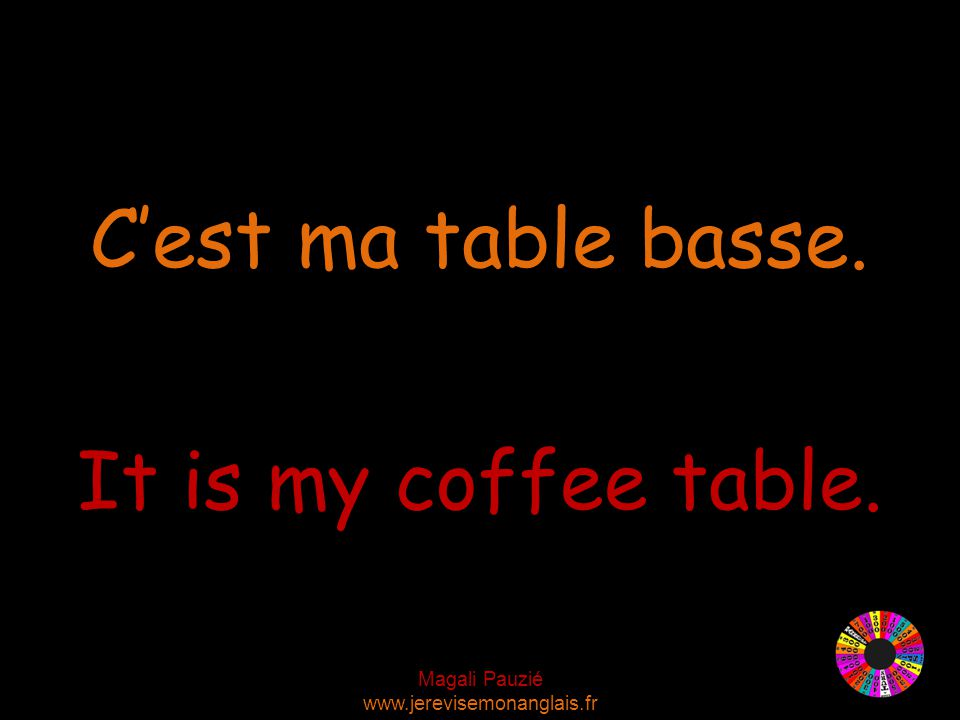 Magali Pauzié www.jerevisemonanglais.fr It is my coffee table. C'est ma table basse.