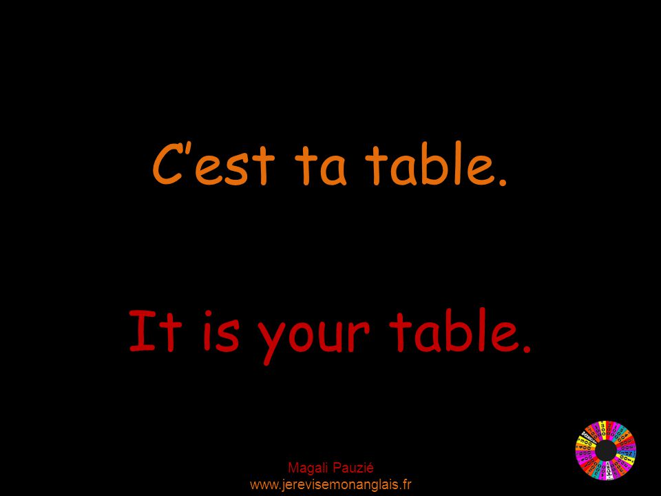 Magali Pauzié www.jerevisemonanglais.fr It is your table. C'est ta table.
