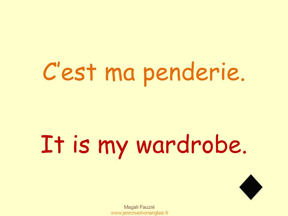 Magali Pauzié www.jerevisemonanglais.fr It is my wardrobe. C'est ma penderie.