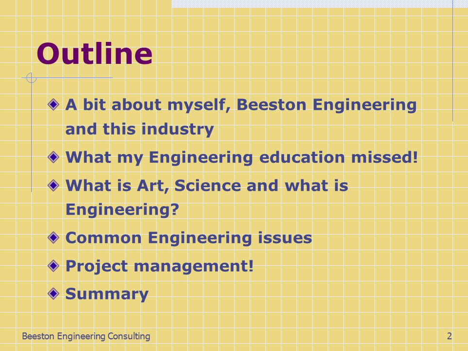 Beeston Engineering Consulting2 Outline A bit about myself, Beeston Engineering and this industry What my Engineering education missed.