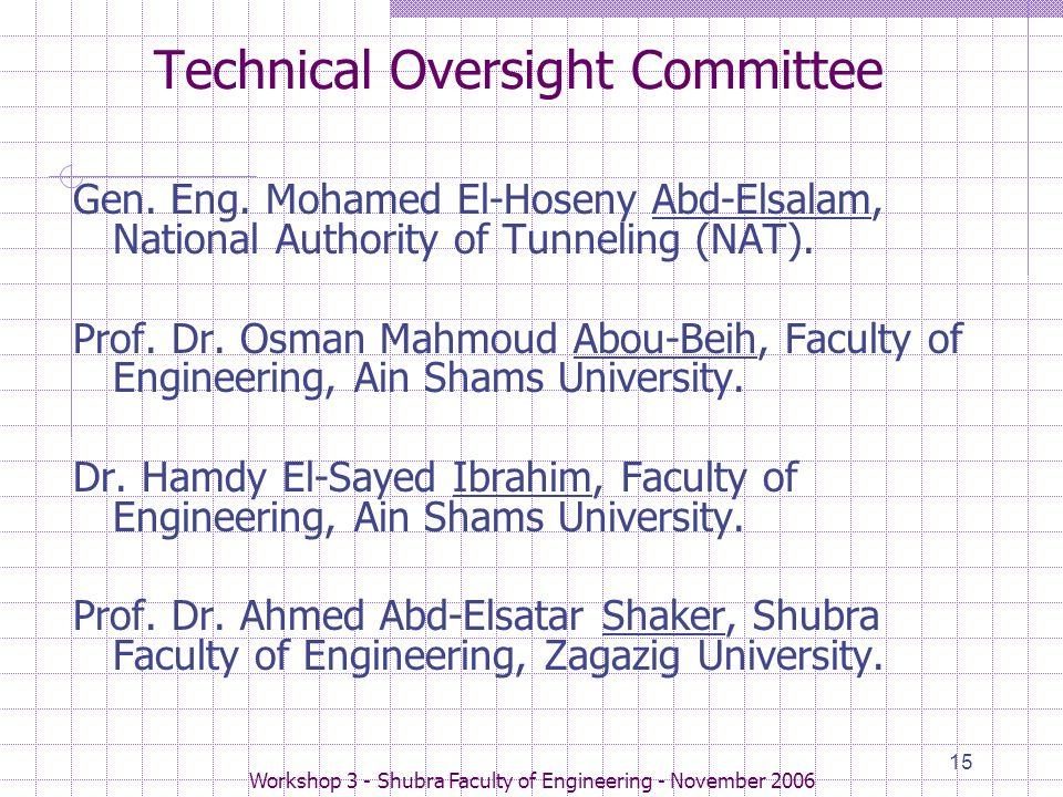 Workshop 3 - Shubra Faculty of Engineering - November 2006 15 Technical Oversight Committee Gen.
