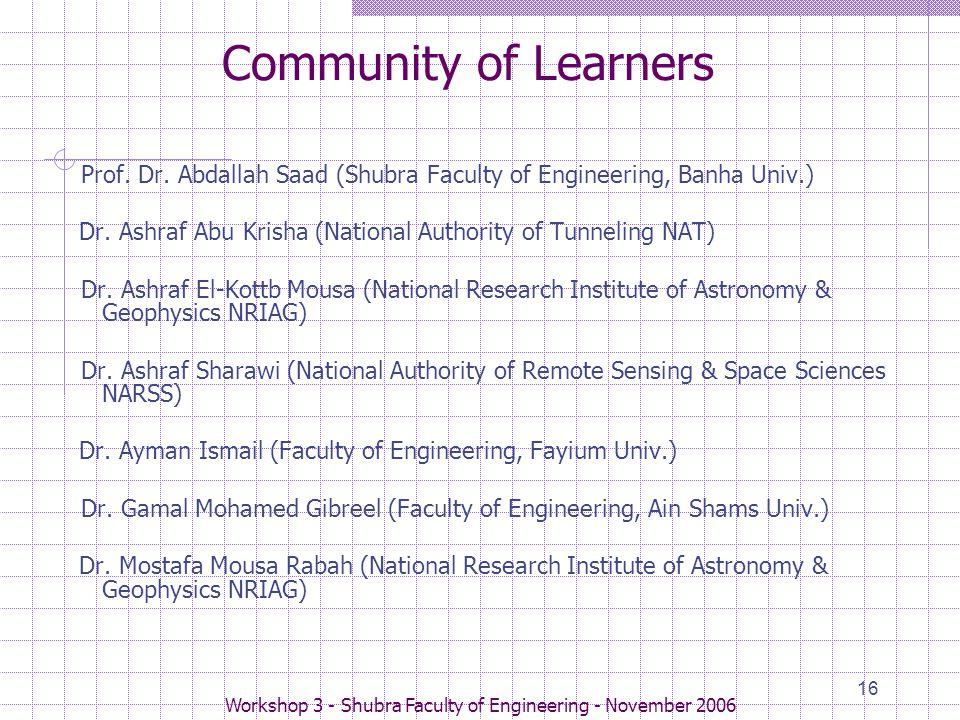 Workshop 3 - Shubra Faculty of Engineering - November 2006 16 Community of Learners Prof.
