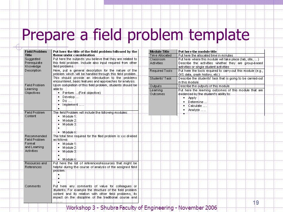 Workshop 3 - Shubra Faculty of Engineering - November 2006 19 Prepare a field problem template