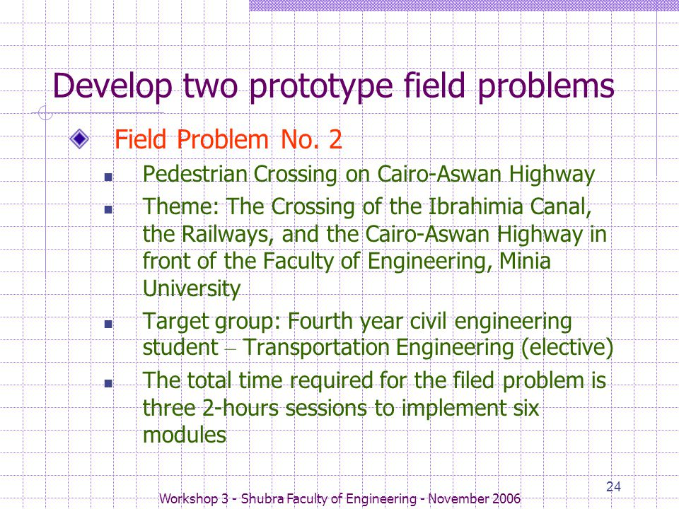 Workshop 3 - Shubra Faculty of Engineering - November 2006 24 Develop two prototype field problems Field Problem No. 2 Pedestrian Crossing on Cairo-As