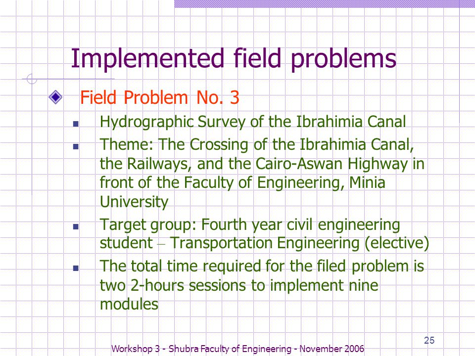 Workshop 3 - Shubra Faculty of Engineering - November 2006 25 Implemented field problems Field Problem No. 3 Hydrographic Survey of the Ibrahimia Cana
