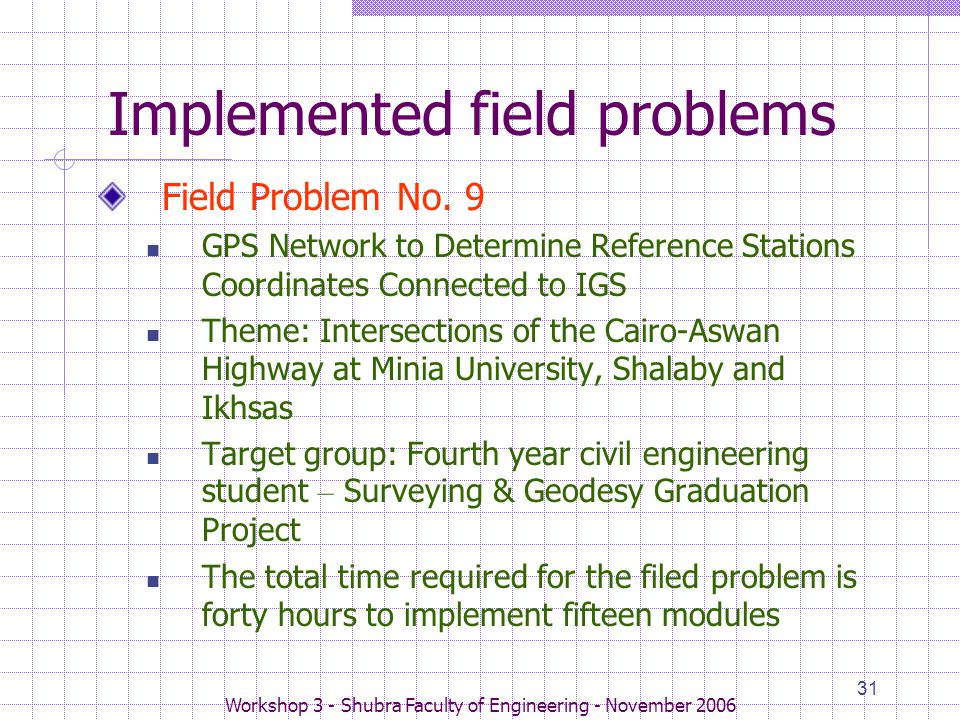 Workshop 3 - Shubra Faculty of Engineering - November 2006 31 Implemented field problems Field Problem No. 9 GPS Network to Determine Reference Statio