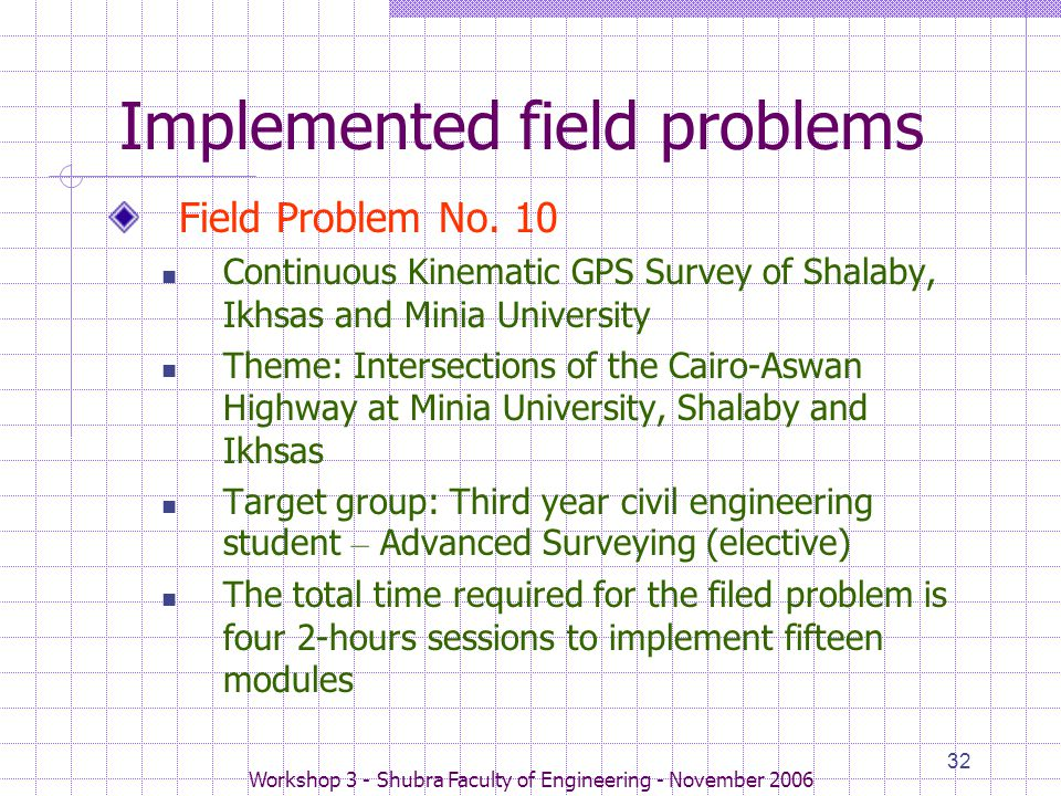 Workshop 3 - Shubra Faculty of Engineering - November 2006 32 Implemented field problems Field Problem No. 10 Continuous Kinematic GPS Survey of Shala