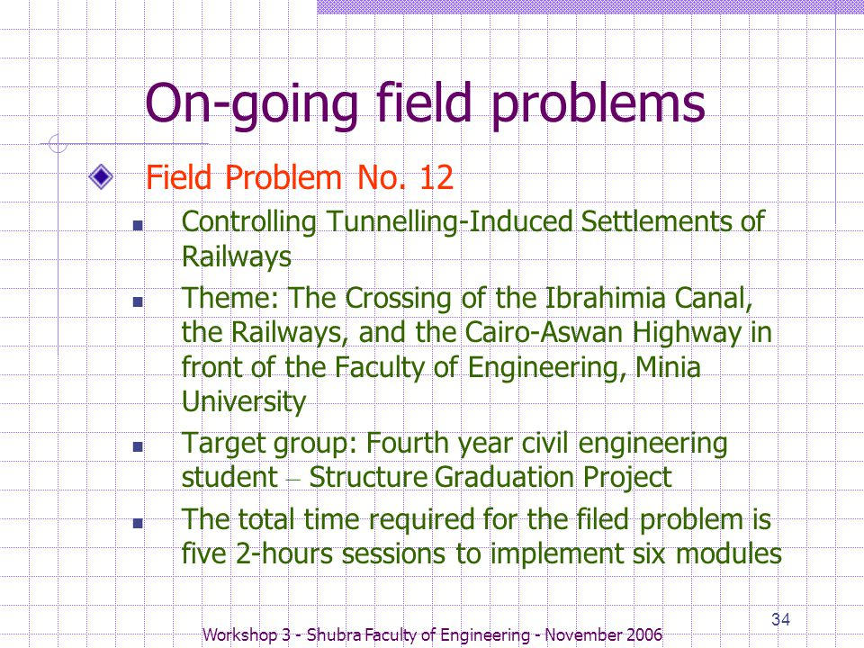 Workshop 3 - Shubra Faculty of Engineering - November 2006 34 On-going field problems Field Problem No. 12 Controlling Tunnelling-Induced Settlements