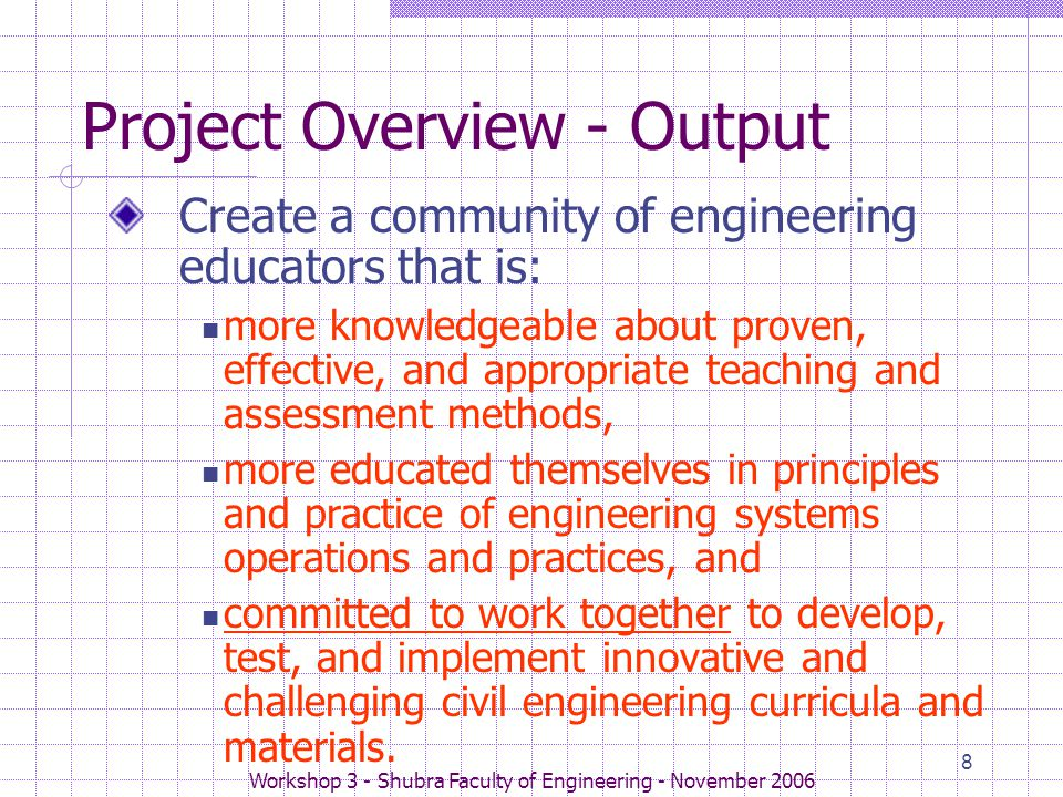 Workshop 3 - Shubra Faculty of Engineering - November 2006 8 Project Overview - Output Create a community of engineering educators that is: more knowledgeable about proven, effective, and appropriate teaching and assessment methods, more educated themselves in principles and practice of engineering systems operations and practices, and committed to work together to develop, test, and implement innovative and challenging civil engineering curricula and materials.