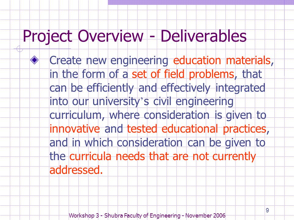Workshop 3 - Shubra Faculty of Engineering - November 2006 9 Project Overview - Deliverables Create new engineering education materials, in the form of a set of field problems, that can be efficiently and effectively integrated into our university ' s civil engineering curriculum, where consideration is given to innovative and tested educational practices, and in which consideration can be given to the curricula needs that are not currently addressed.