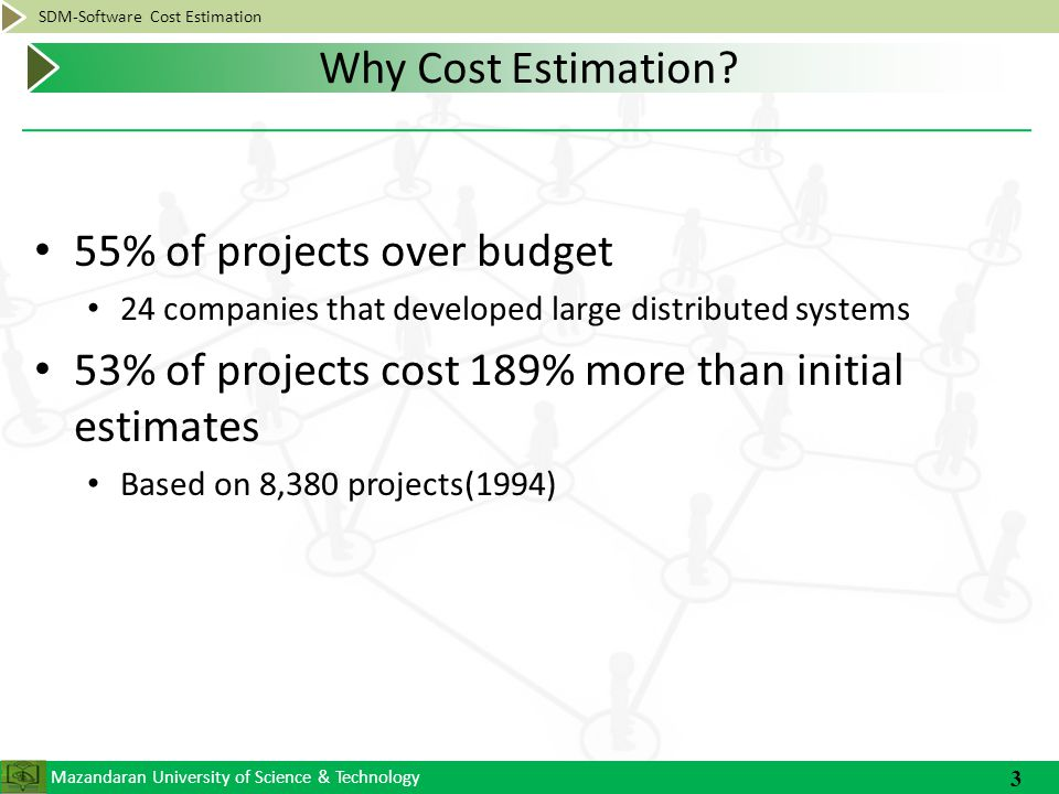 Mazandaran University of Science & Technology SDM-Software Cost Estimation 55% of projects over budget 24 companies that developed large distributed systems 53% of projects cost 189% more than initial estimates Based on 8,380 projects(1994) 3 Why Cost Estimation?