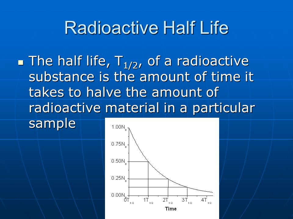 Radioactive Half Life The half life, T 1/2, of a radioactive substance is the amount of time it takes to halve the amount of radioactive material in a