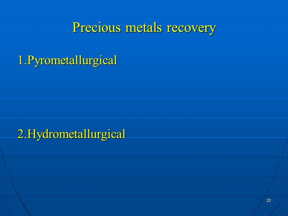 22 Precious metals recovery 1.Pyrometallurgical2.Hydrometallurgical