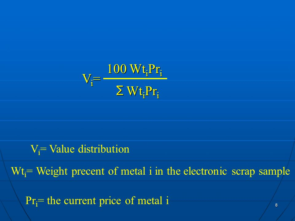 8 Pr i = the current price of metal i V i = Value distribution Wt i = Weight precent of metal i in the electronic scrap sample Vi=Vi=Vi=Vi= 100 Wt i Pr i Wt i Pr i ∑