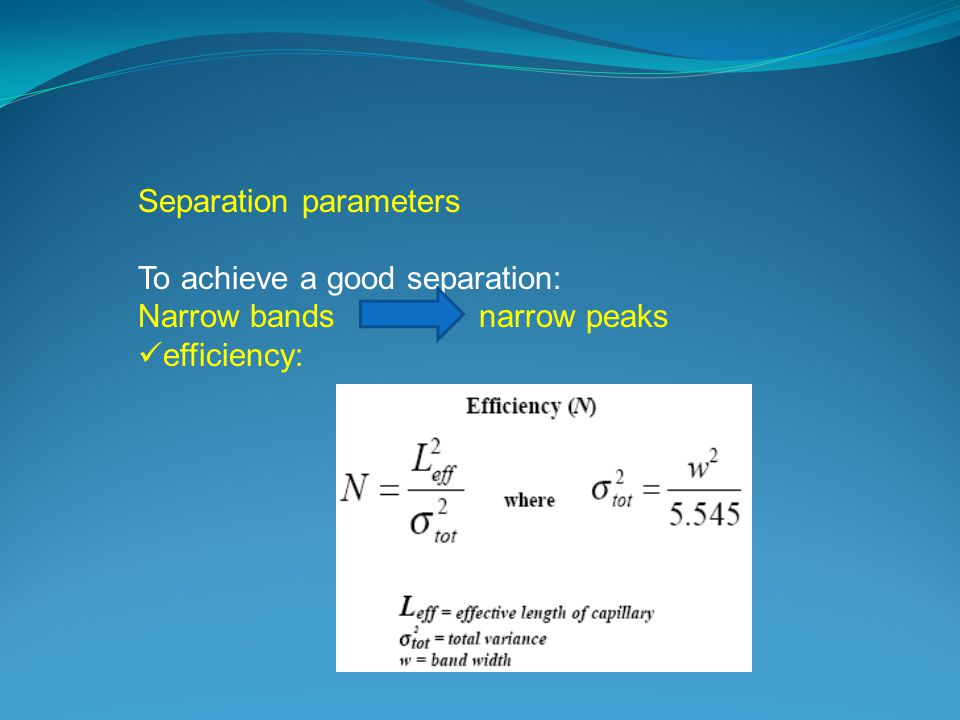 Separation parameters To achieve a good separation: Narrow bands narrow peaks efficiency: