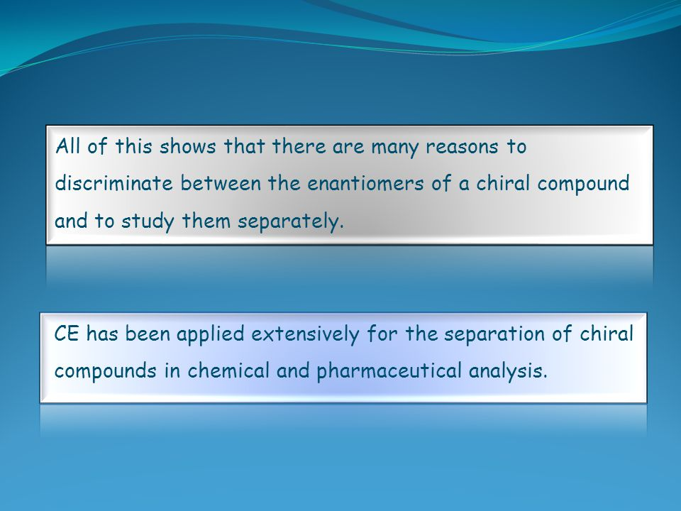 All of this shows that there are many reasons to discriminate between the enantiomers of a chiral compound and to study them separately. CE has been a