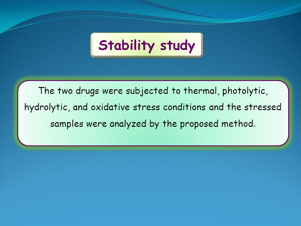 The two drugs were subjected to thermal, photolytic, hydrolytic, and oxidative stress conditions and the stressed samples were analyzed by the propose