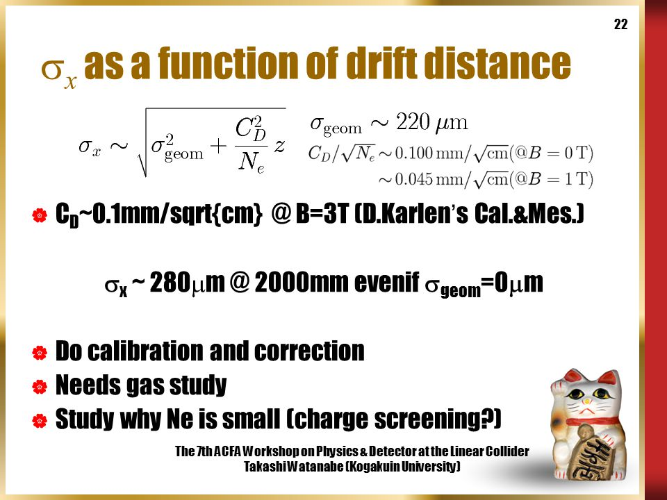 The 7th ACFA Workshop on Physics & Detector at the Linear Collider Takashi Watanabe (Kogakuin University) 22  x as a function of drift distance  C D