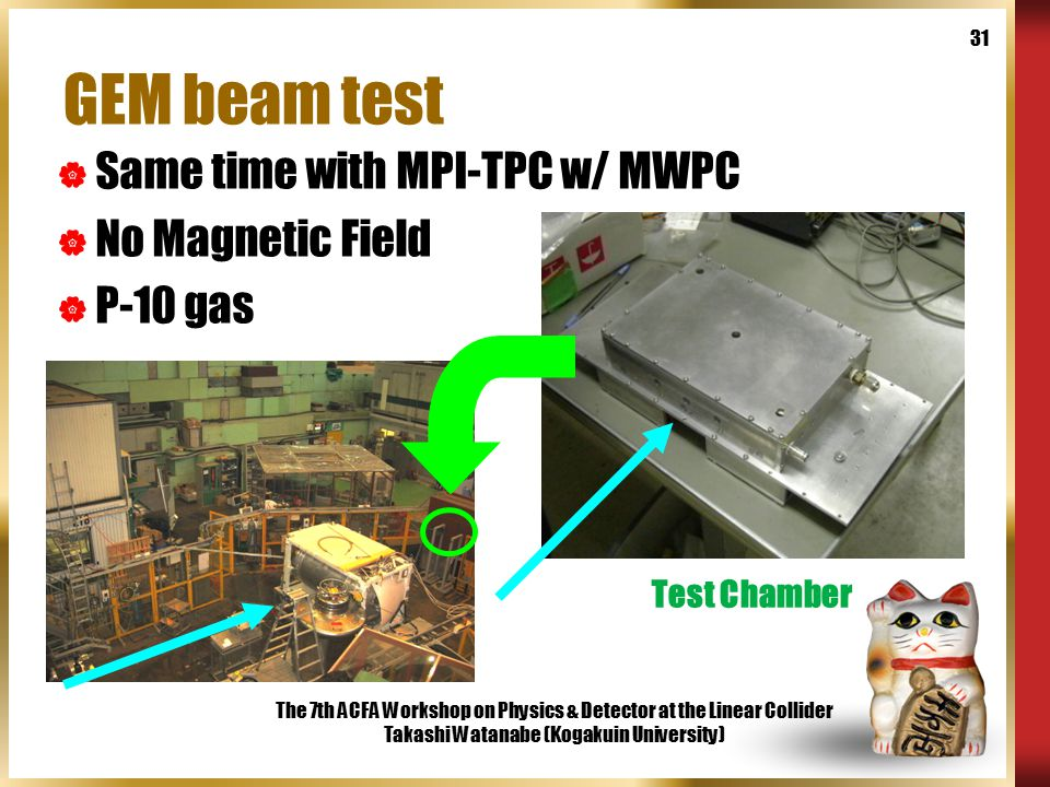 The 7th ACFA Workshop on Physics & Detector at the Linear Collider Takashi Watanabe (Kogakuin University) 31 GEM beam test  Same time with MPI-TPC w/