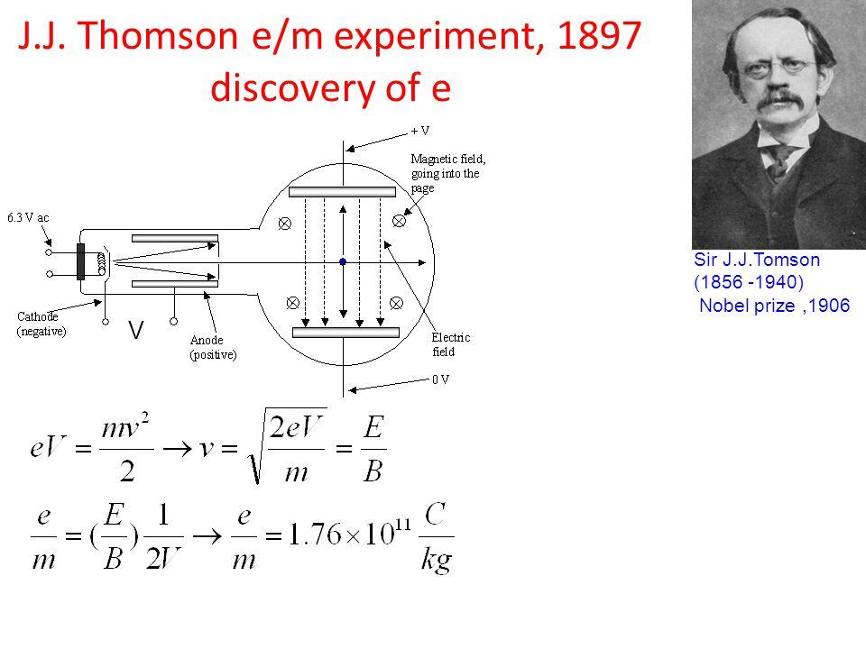 J.J. Thomson e/m experiment, 1897 discovery of e Sir J.J.Tomson (1856 -1940) Nobel prize,1906 V
