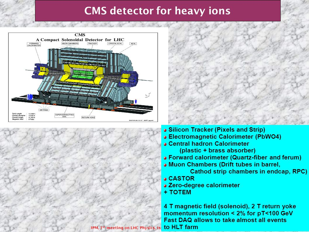 IPM, 1 st meeting on LHC Physics, Isphagan,Iran 20 April-24 April 2009 CMS detector for heavy ions Silicon Tracker (Pixels and Strip) Electromagnetic Calorimeter (PbWO4) Central hadron Calorimeter (plastic + brass absorber) Forward calorimeter (Quartz-fiber and ferum) Muon Chambers (Drift tubes in barrel, Cathod strip chambers in endcap, RPC) CASTOR Zero-degree calorimeter + TOTEM 4 T magnetic field (solenoid), 2 T return yoke momentum resolution < 2% for pT<100 GeV Fast DAQ allows to take almost all events to HLT farm