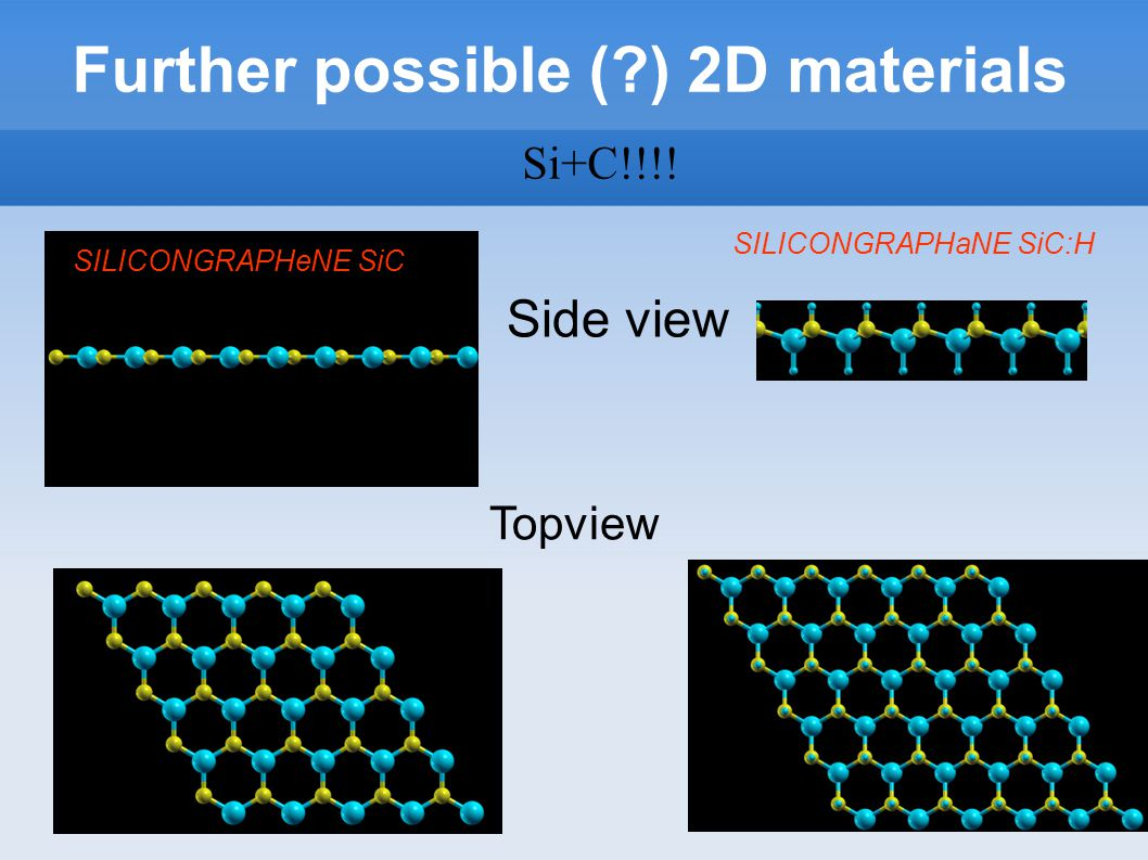 Further possible ( ) 2D materials Side view Topview SILICONGRAPHaNE SiC:H SILICONGRAPHeNE SiC Si+C!!!!